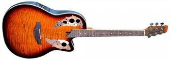 Dimavery OV-500 elektro-akustická kytara Ovation, žíhaná sunburst - 3 roky záruka