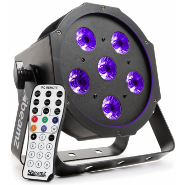 BeamZ BFP130 UV FlatPAR reflektor s IR, 6x 6W UV LED, DMX - 3 roky záruka