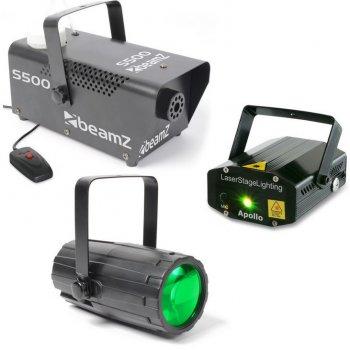 BeamZ světelný set 3, laser, LED paprskový efekt a výrobník mlhy - 3 roky záruka