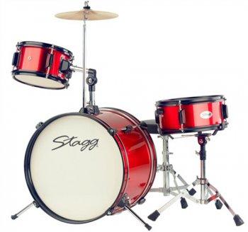 Stagg TIM JR 3/16 RD MK II, dětská bicí sada, červená - 3 roky záruka