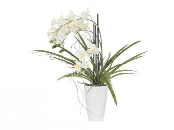 Orchidej bílá v dekoračním květináči, 24 kvítků, 70cm - 3 roky záruka